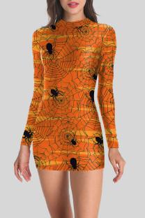 Orange Street Punk Print Split Joint O Neck One Step Skirt Dresses