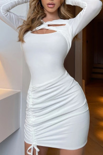White Sexy Solid Hollowed Out Split Joint Draw String Fold Asymmetrical Collar One Step Skirt Dresses