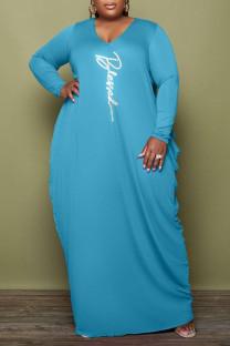 Light Blue Casual Print Split Joint Fold O Neck Long Sleeve Plus Size Dresses