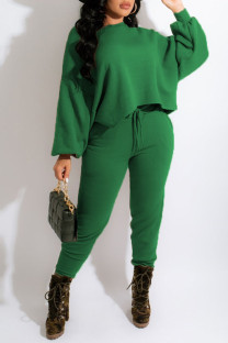 Green Casual Solid Split Joint O Neck Long Sleeve Two Pieces