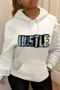 White Fashion Casual Letter Print Basic Hooded Collar Plus Size Tops