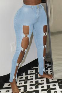 Light Blue Sexy Street Hollowed Out Make Old Split Joint High Waist Skinny Denim Jeans