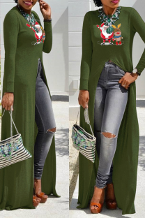 Army Green Casual Print Split Joint O Neck Irregular Dress Dresses