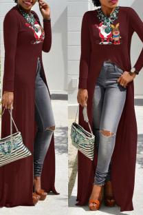 Purplish Red Casual Print Split Joint O Neck Irregular Dress Dresses