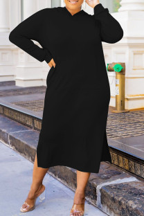 Black Fashion Casual Solid Slit Hooded Collar Long Sleeve Plus Size Dresses