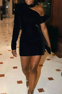 Black Sexy Solid Hollowed Out Split Joint Asymmetrical Half A Turtleneck One Step Skirt Dresses