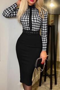 Black Fashion Casual Print Split Joint With Belt Turndown Collar Long Sleeve Dresses