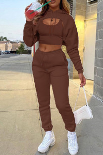 Brown Fashion Casual Solid Hollowed Out Hooded Collar Long Sleeve Three-piece Set