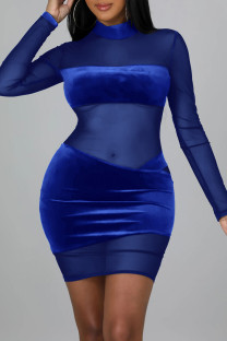 Colorful Blue Sexy Solid Split Joint See-through Mesh Half A Turtleneck One Step Skirt Dresses