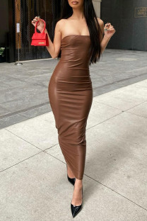Brown Fashion Sexy Solid Backless Strapless Long Dress