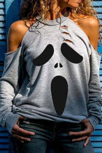 Black Gray Street Print Ripped Hollowed Out Split Joint O Neck Tops