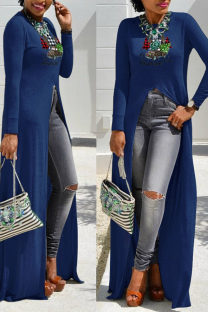 Blue Casual Print Split Joint O Neck Irregular Dress Dresses