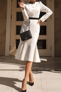 White Casual Split Joint Buckle O Neck One Step Skirt Dresses