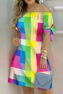 Multicolor Fashion Casual Print Bandage Off the Shoulder Short Sleeve Dress Dresses
