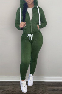 Green Fashion Casual Solid Zipper Hooded Collar Long Sleeve Two Pieces