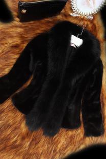 Black Fashion Slim Faux Fur Collar Solid Coat