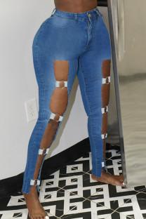 Medium Blue Sexy Street Hollowed Out Make Old Split Joint High Waist Skinny Denim Jeans