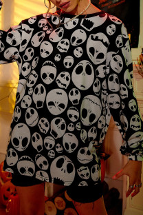 Black White Casual Street Skull Head Print Split Joint O Neck Tops