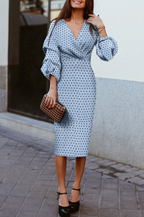 Blue Casual Print Polka Dot Split Joint V Neck Dresses