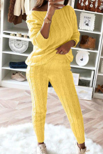 Yellow Fashion Casual Long Sleeve Oblique Collar Regular Sleeve Regular Solid Two Pieces