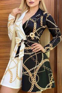 Black Yellow Casual Print Split Joint With Belt Turn-back Collar A Line Dresses