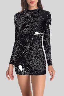 Black White Street Punk Print Split Joint O Neck One Step Skirt Dresses