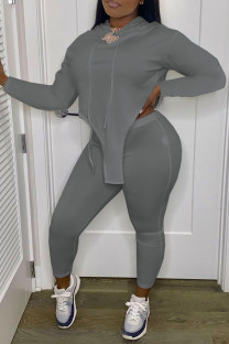 Grey Casual Solid Split Joint Asymmetrical Hooded Collar Plus Size Two Pieces