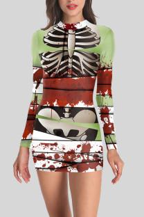 Multi-color Street Punk Print Split Joint O Neck One Step Skirt Dresses