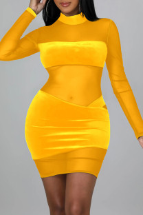Yellow Sexy Solid Split Joint See-through Mesh Half A Turtleneck One Step Skirt Dresses