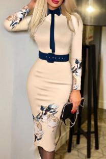Light Khaki Fashion Casual Print Split Joint With Belt Turndown Collar Long Sleeve Dresses
