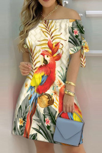 Apricot Fashion Casual Print Bandage Off the Shoulder Short Sleeve Dress Dresses