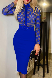 Blue Fashion Casual Print Split Joint With Belt Turndown Collar Long Sleeve Dresses