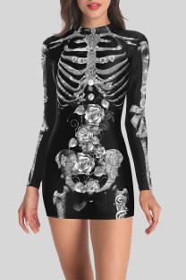 Black Gray Street Punk Print Split Joint O Neck One Step Skirt Dresses