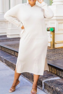 Cream White Fashion Casual Solid Slit Hooded Collar Long Sleeve Plus Size Dresses
