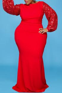 Red Elegant Solid Split Joint  Sequins O Neck Long Sleeve Plus Size Dresses