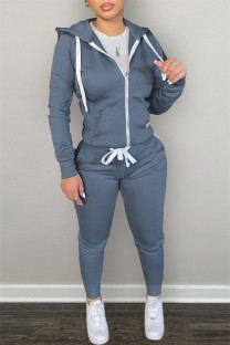 Blue Fashion Casual Solid Zipper Hooded Collar Long Sleeve Two Pieces