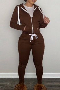 Dark Brown Fashion Casual Solid Zipper Hooded Collar Long Sleeve Two Pieces