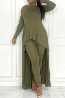 Green Fashion Casual Solid Asymmetrical O Neck Long Sleeve Two Pieces
