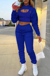 Blue Fashion Casual Solid Hollowed Out Hooded Collar Long Sleeve Three-piece Set
