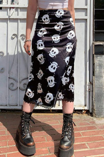 Black Street Skull Head Print Split Joint Straight High Waist Straight Full Print Bottoms