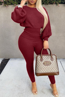 Purplish Red Casual Solid Split Joint O Neck Long Sleeve Two Pieces