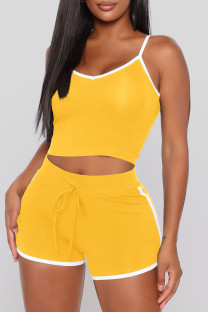 Yellow Sexy Sportswear Solid Vests Spaghetti Strap Sleeveless Two Pieces