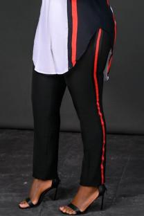 Black Fashion Casual Striped Split Joint Regular High Waist Trousers