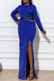 Blue Fashion Plus Size Patchwork Solid Hollowed Out Slit O Neck Evening Dress