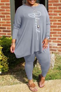 Grey Fashion Casual Print Basic O Neck Plus Size Two Pieces