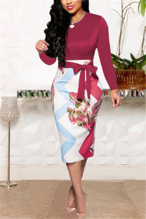 Wine Red Fashion Zipper Long Sleeve Dress