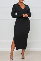 Black Sexy Solid Split Joint Frenulum Backless Slit V Neck One Step Skirt Dresses