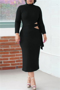 Black Fashion Casual Solid Bandage Hollowed Out O Neck Long Sleeve Dresses