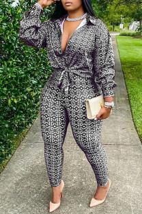Black Fashion Casual Print Basic Turndown Collar Long Sleeve Two Pieces