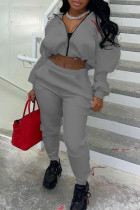 Grey Fashion Casual Solid Split Joint Zipper Collar Long Sleeve Two Pieces